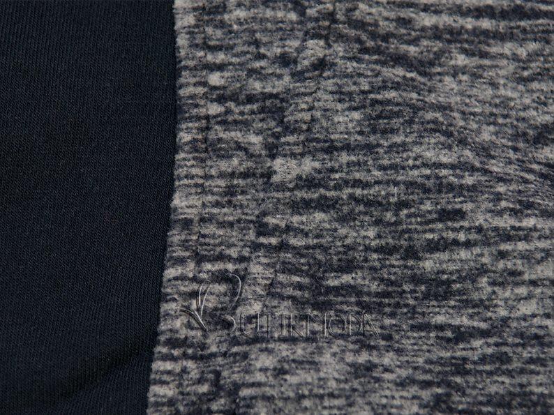 Sötétkék színű felső kontrasztos cipzárral