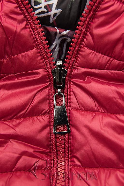 Piros színű steppelt dzseki színes béléssel