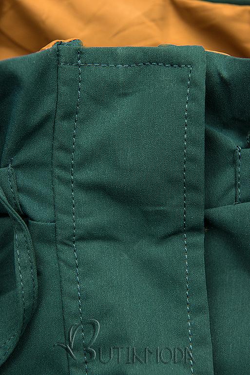 Átmeneti kifordítható parka - zöld és karemellszínű