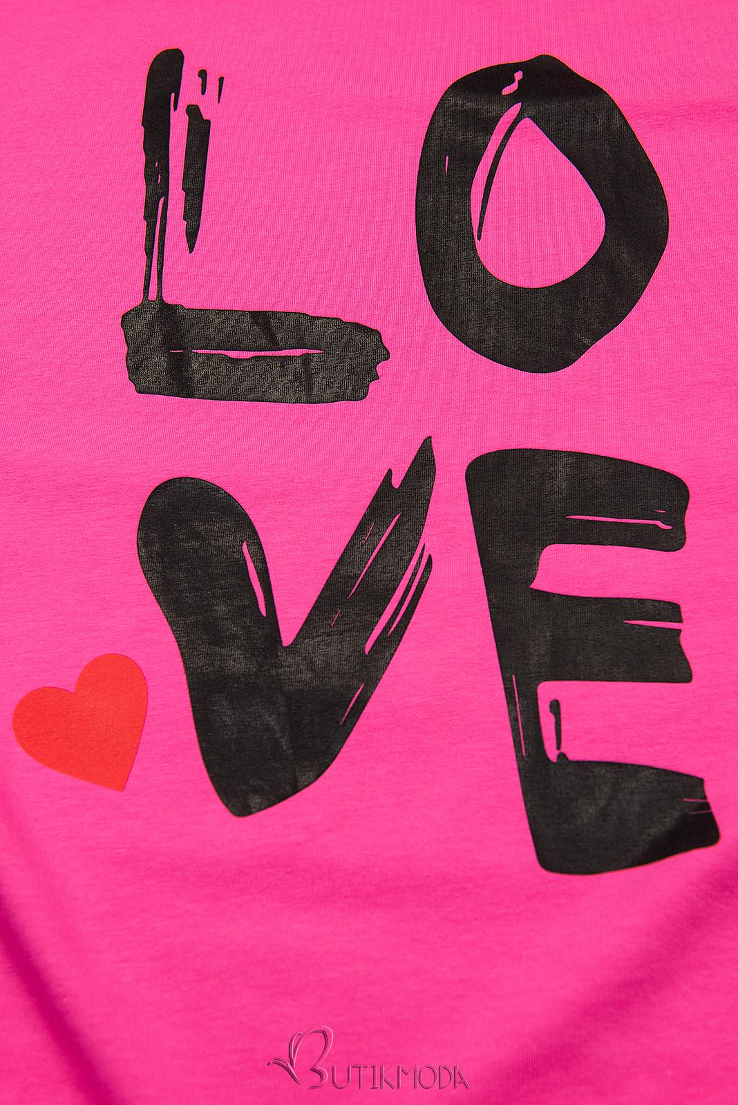 Fuksziaszínű tunika LOVE nyomott mintával
