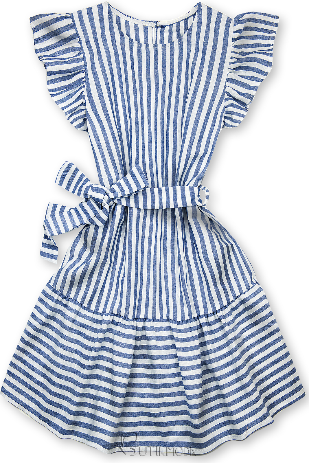Fehér és kék színű csíkos ruha fodorral
