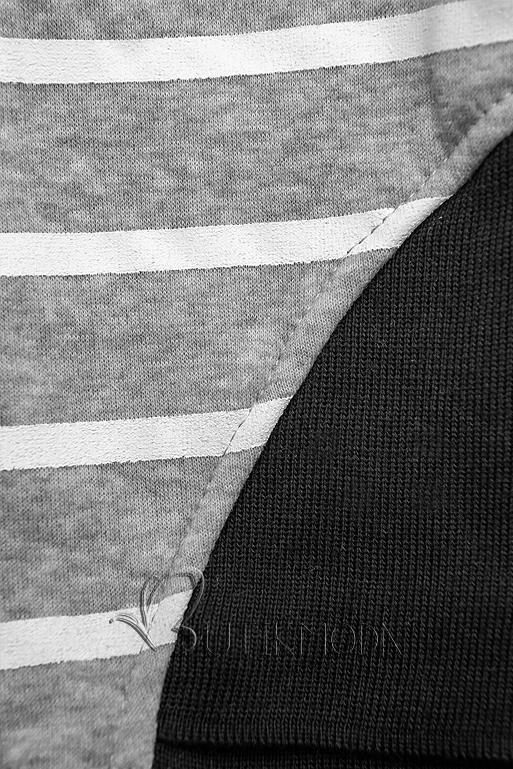 Szürke és fekete színű csíkos melegítő szett