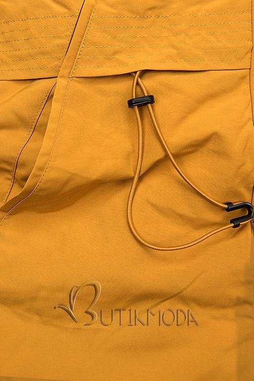Sárga és fekete színű kifordítható téli kabát