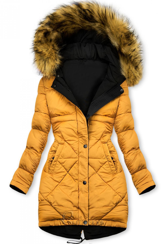 Fekete és sárga színű kifordítható téli kabát