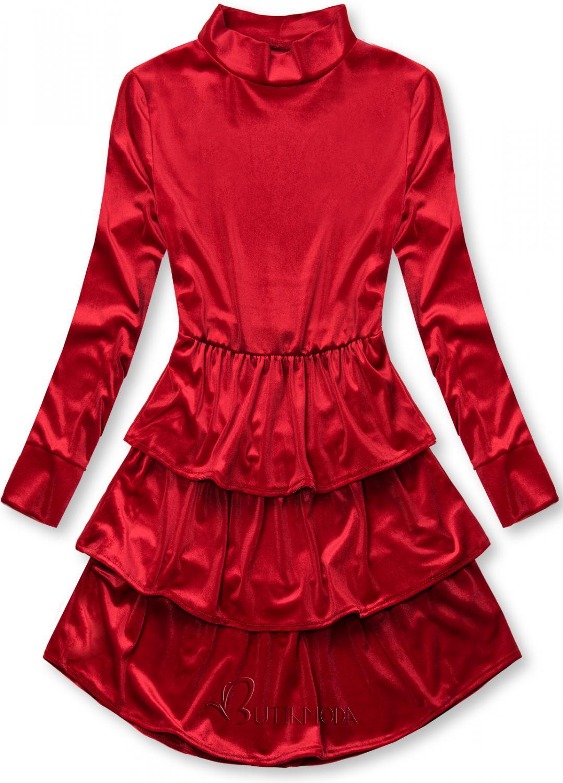 Piros színű bársony ruha fodrokkal