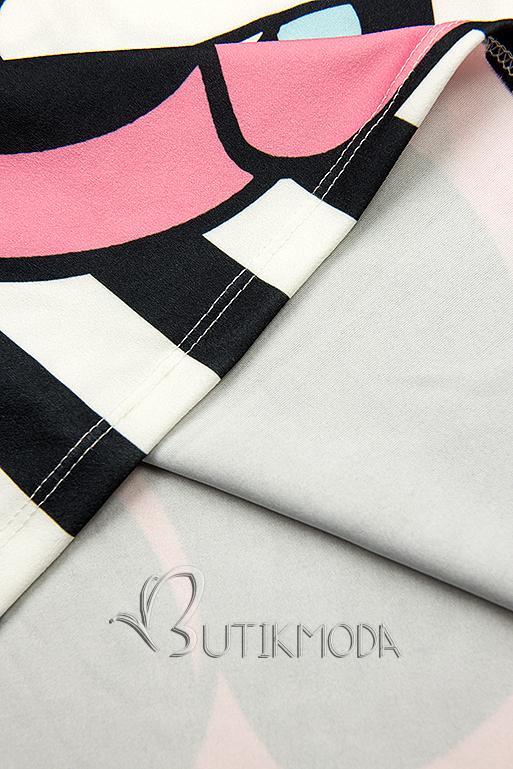 Fekete és fehér színű Plus Size csíkos tunika nyomott mintával