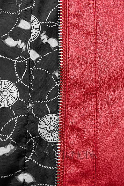 Piros színű műbőrdzseki mintás béléssel
