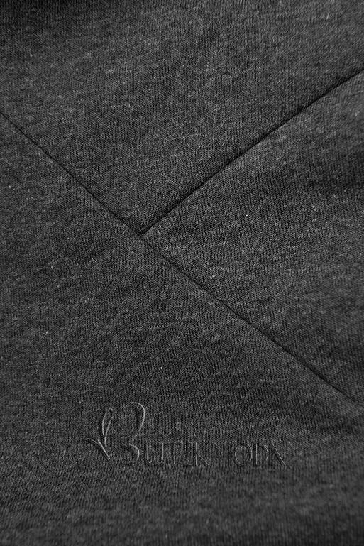 Grafitszürke színű melegítő szett mintás kapucnival