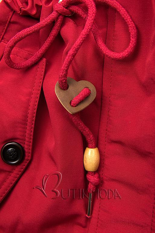 Piros színű rövid téli parka plüssel