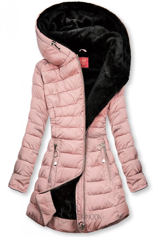 Rózsaszínű steppelt kabát fekete plüss béléssel