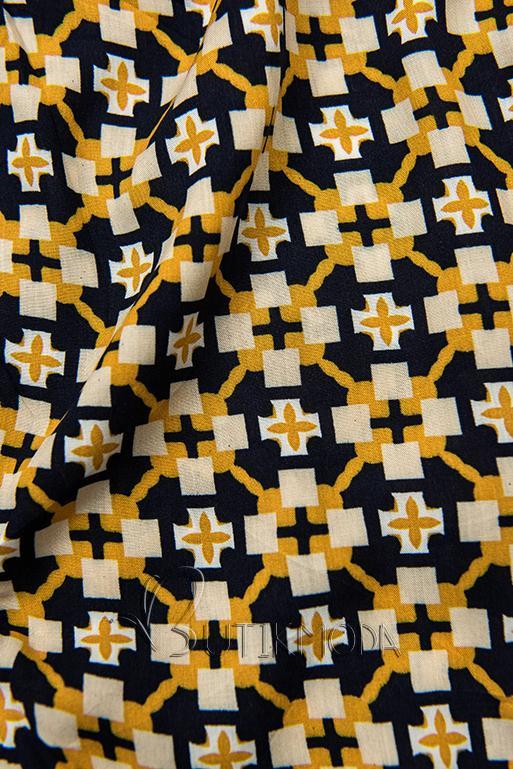 Kék és sárga színű sort nyomott mintával