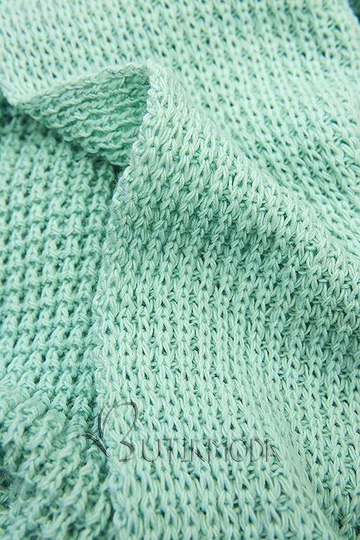 Mentazöld színű, aszimmetrikus kötött kardigán