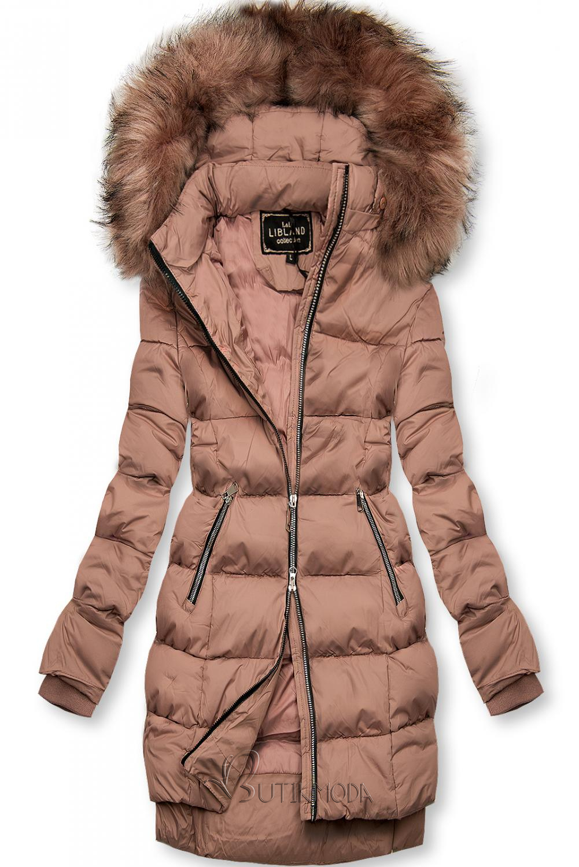 Vintage-rózsaszínű téli kabát cipzárral