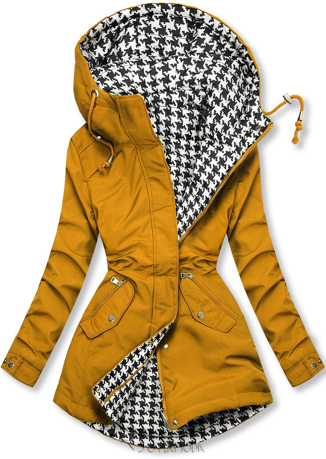 Sárga színű kifordítható kabát pepita mintával