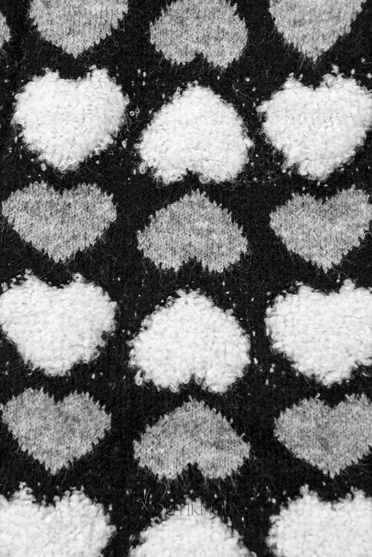 Fekete színű kötött kardigán szívecskékkel