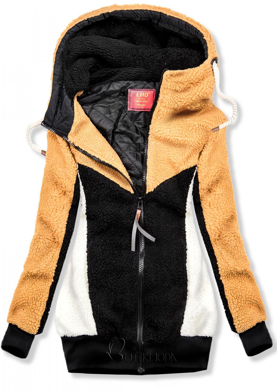 Sárga és fekete színű szőrme felsői