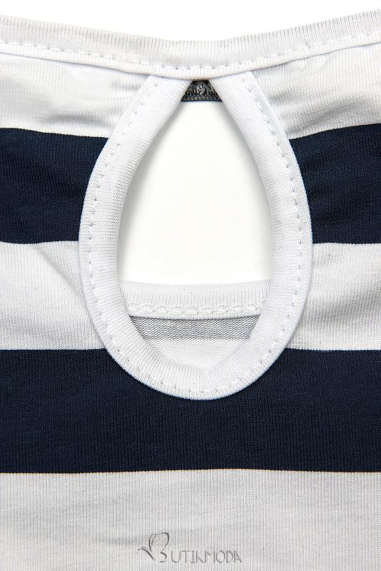 Kék és fehér színű csíkos ruha X.