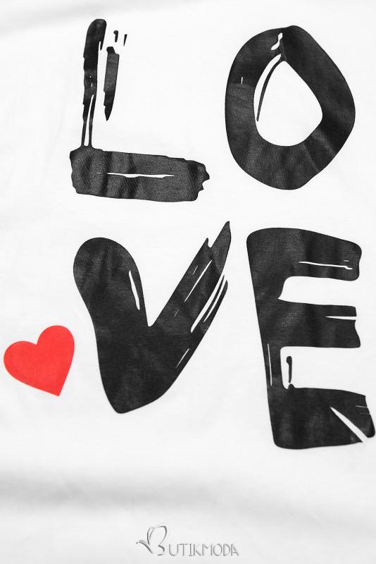 Fehér színű tunika LOVE nyomott mintával
