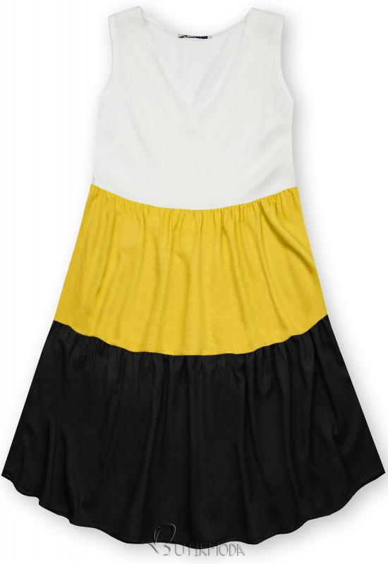 Fehér, sárga és fekete színű nyári viszkóz ruha