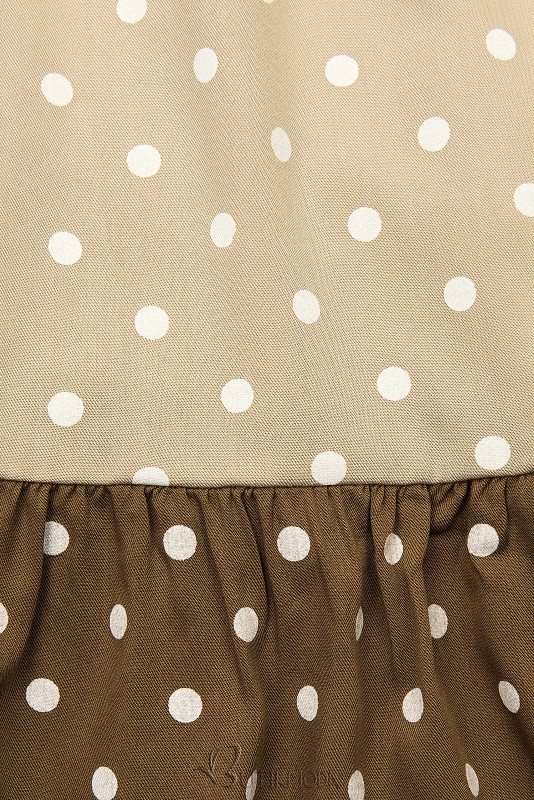 Fehér, bézs és  barna színű pöttyös viszkóz ruha
