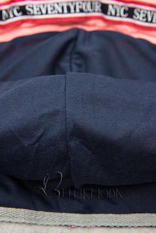 Hosszított felső kapucnival - szürke és kék színű