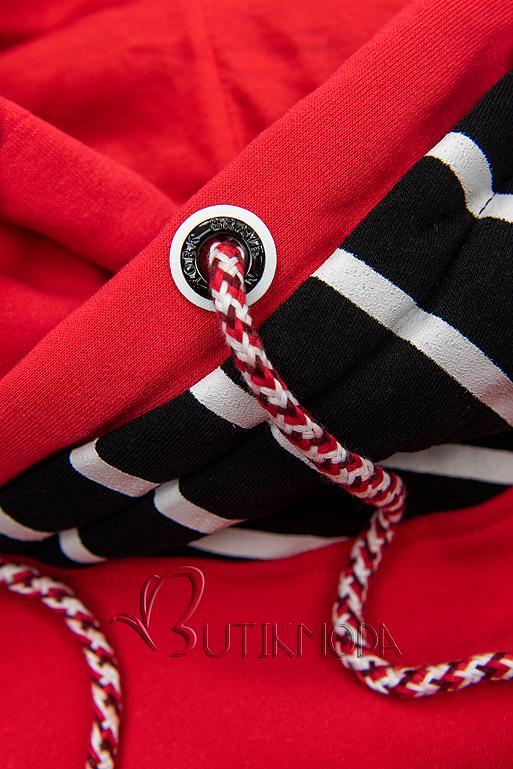 Piros és fekete színű csíkos melegítő szett