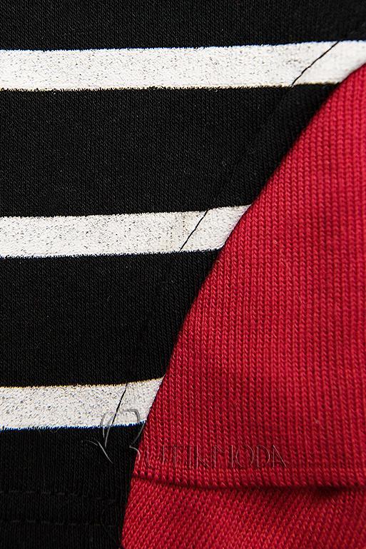 Fekete színű kontrasztos melegítő szett csíkokkal