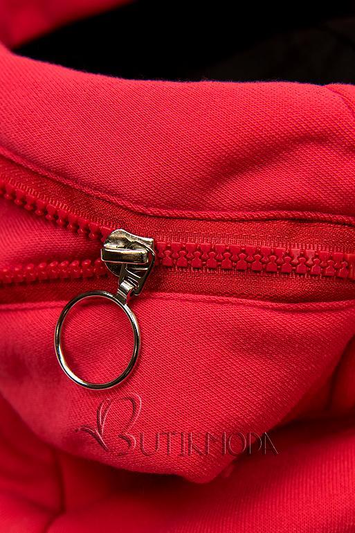 Piros színű melegítő szett kontrasztos kapucnival