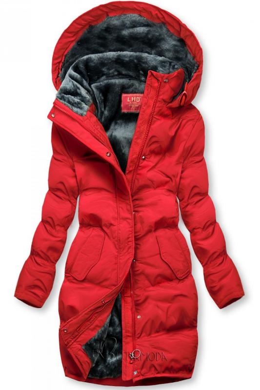 Piros színű téli kabát plüss béléssel