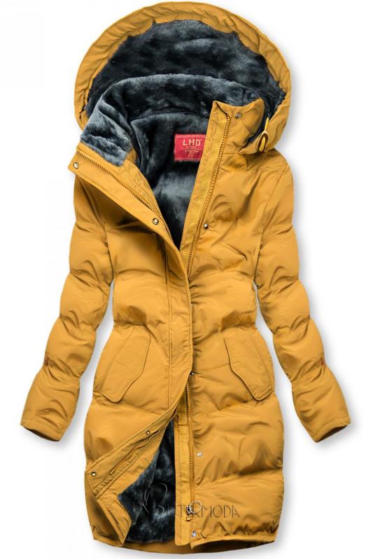 Sárga színű téli kabát plüss béléssel