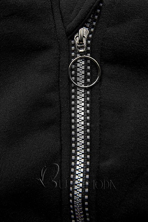 Melegítő szett emelt gallérral - fekete színű