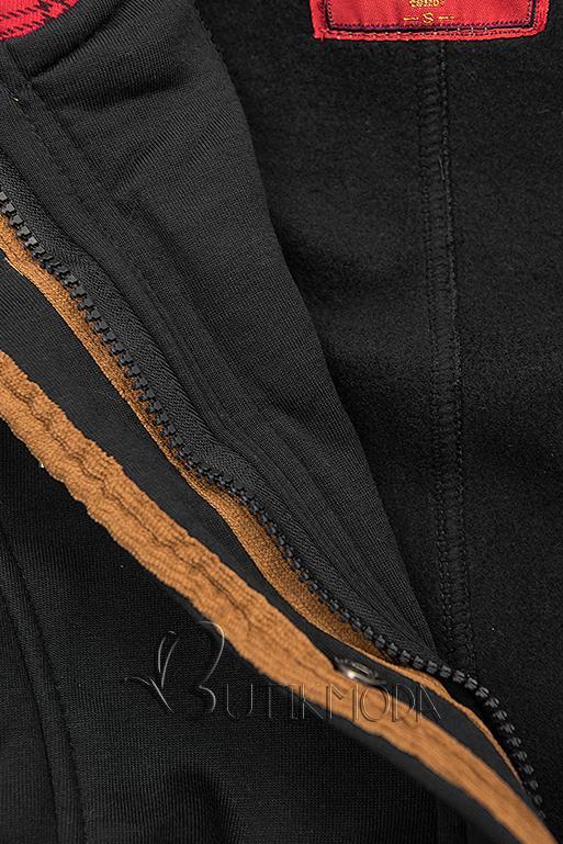 Fekete színű kapucnis felső hosszított fazonban