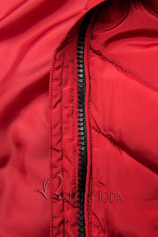 Piros színű steppelt hosszú kabát