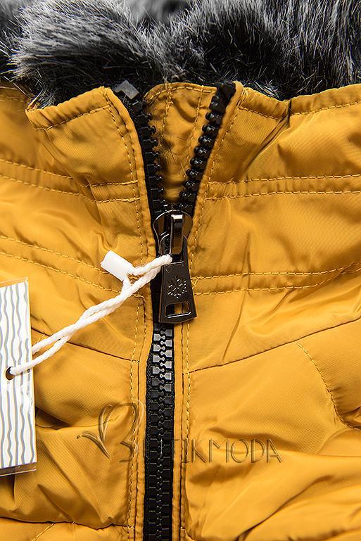 Mustársárga színű steppelt hosszú kabát