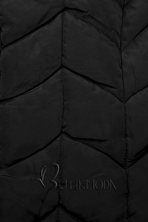 Fekete színű steppelt hosszú kabát
