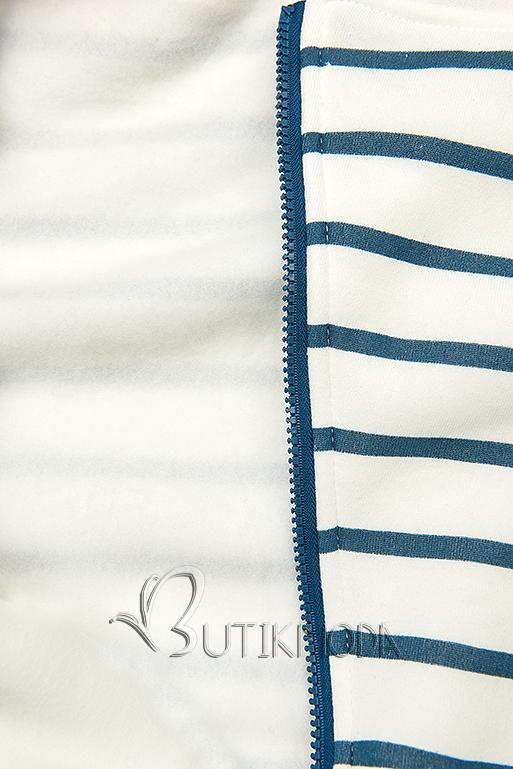 Fehér és kék színű csíkos felső sárga színű kapucnival
