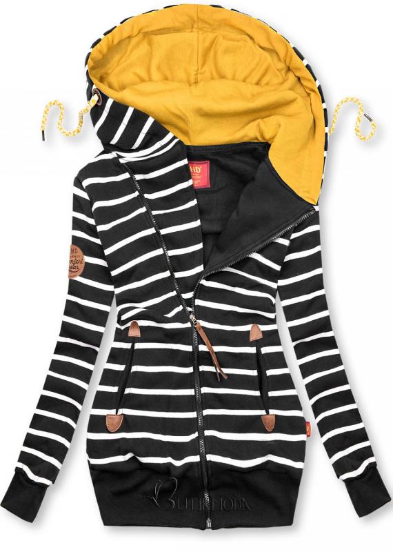 Fekete színű csíkos felső sárga színű kapucnival