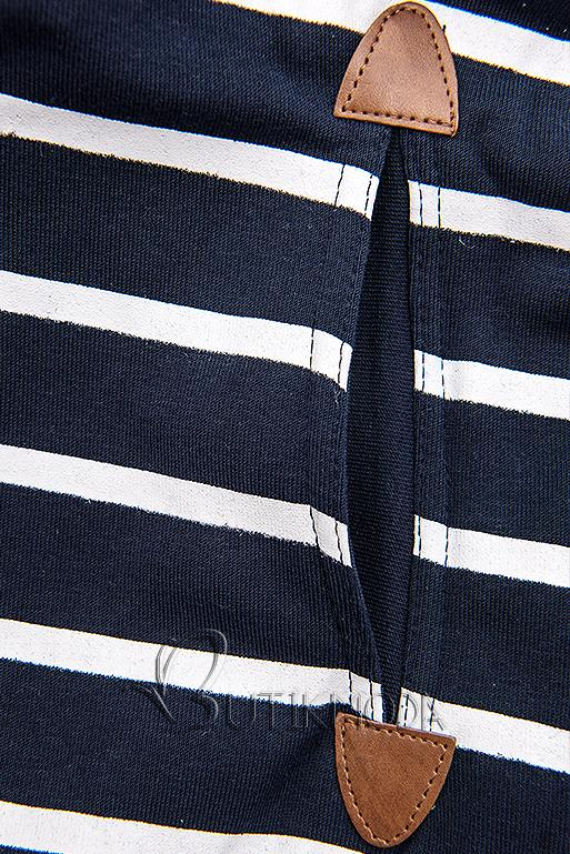 Kék színű csíkos felső szürke színű kapucnival