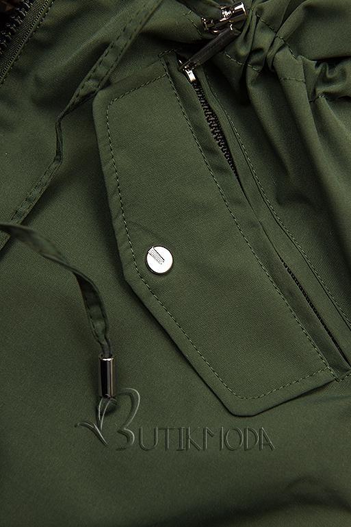 Kifordítható átmeneti parka - khaki/barna pepita