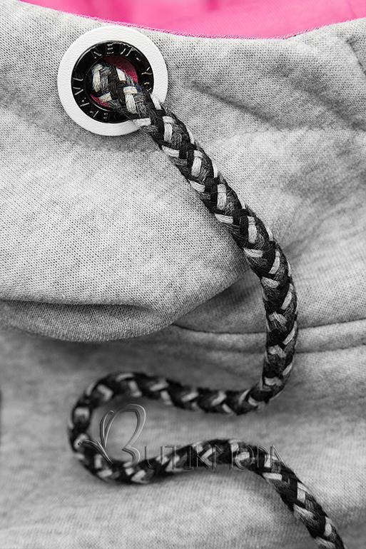 Szürke és fekete színű melegítő szett mintás ujjakkal
