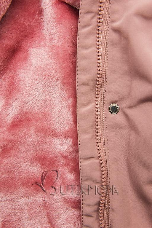 Rózsaszínű rövid téli parka plüssel