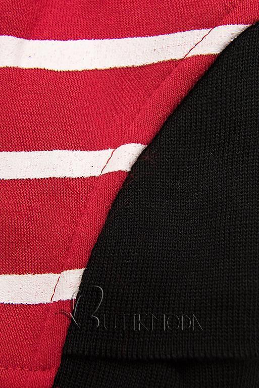 Piros színű kontrasztos melegítő szett csíkokkal