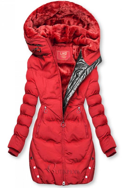 Piros színű téli kabát ezüstszürke színű szegéllyel