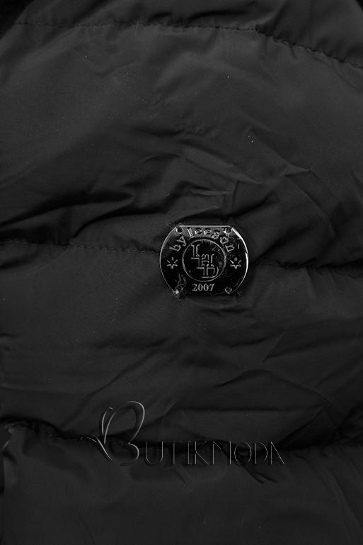 Fekete színű téli kabát ezüstszürke színű szegéllyel