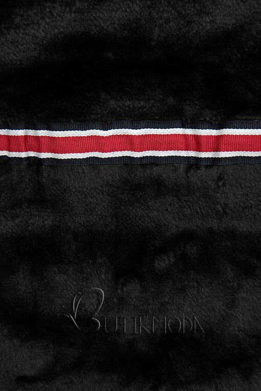 Szürke színű steppelt kabát fekete plüss béléssel