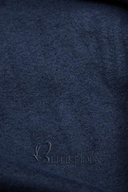 Sötétkék színű hosszított kapucnis felső