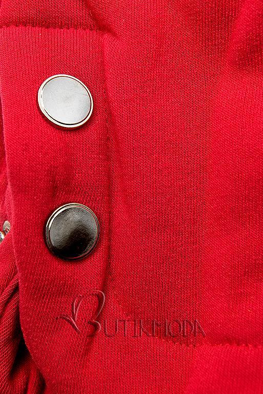 Piros színű hosszított kapucnis felső