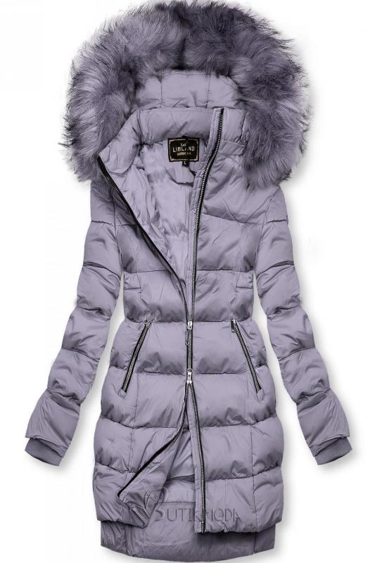 Lila színű téli kabát cipzárral