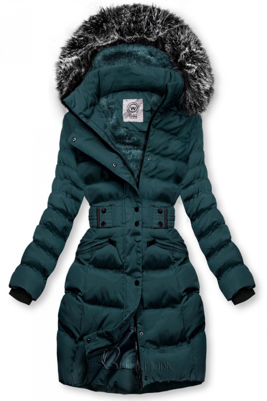 Kék-zöld színű kabát levehető kapucnival