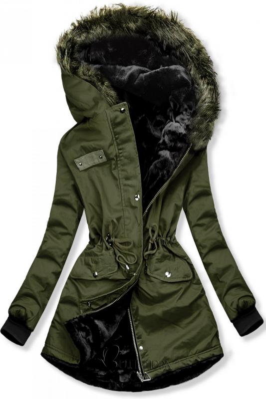 Zöld színű kifordítható téli kabát női ruházat